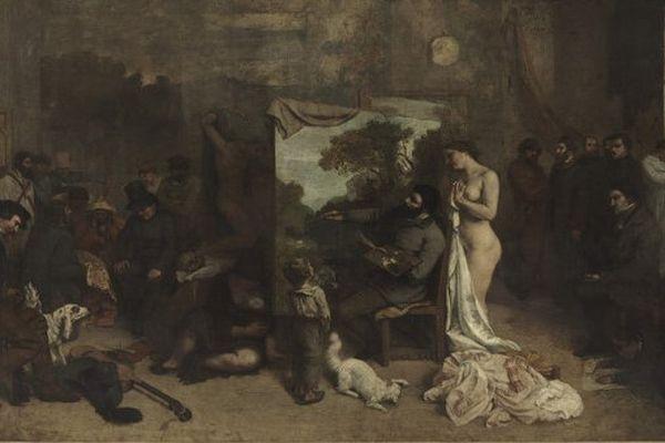 """Détail de """"L'Atelier du peintre"""", Huile sur toile 361 x 598 cm"""