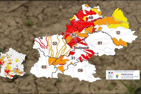 la plupart des départements touchée par le manque d'eau