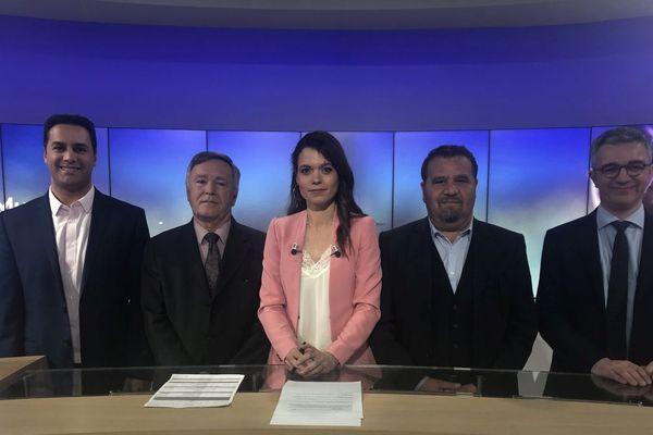 Mercredi 11 mars, autour de Marin Morin (au centre), 4 candidats en lice à Thiers aux municipales ont débattu sur le plateau de France 3.