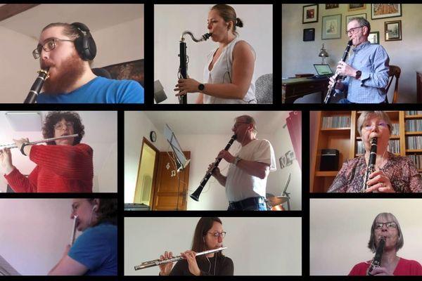 """34 des 40 musiciens de l'orchestre d'harmonie de Soissons ont participé à l'enregistrement de la """"mélodie confinée""""."""