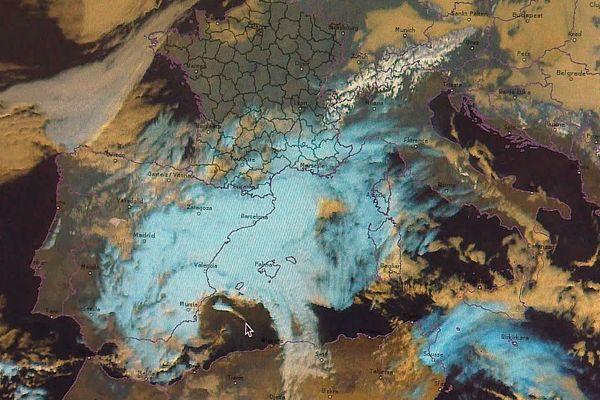 Image satellite de la tempête Gloria - mardi 21 janvier 220.