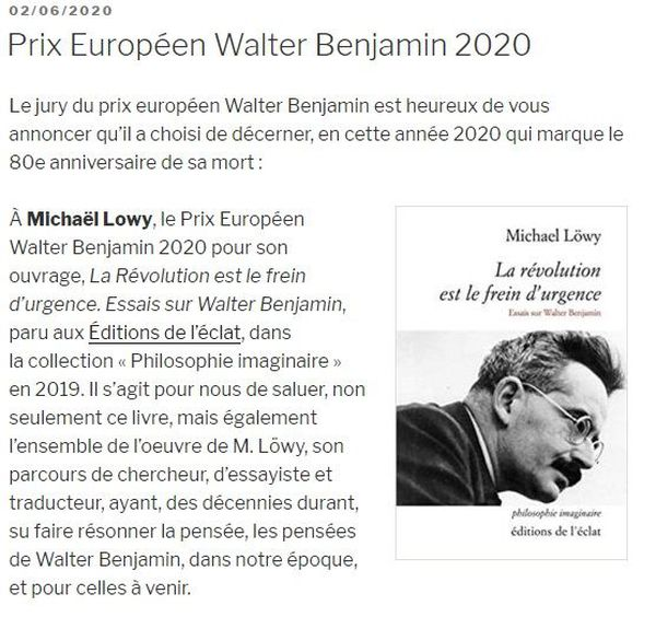 Un double prix européen Walter Benjamin attribué par la nouvelle association créée dans la foulée de la démission des membres du jury du prix littéraire et présidée désormais par le philosophe belge Bruno Tackels.