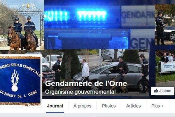 Capture d'écran de la page Facebook de la gendarmerie de l'Orne