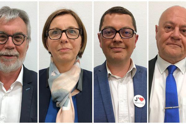 Les quatre candidats en lice, de gauche à droite, Denis Fenat, Sandrine Antunes, Michaël Mauvais et Thierry Besson