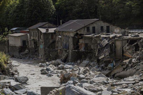 Les maisons détruites à Tende lors de la montée des eaux.