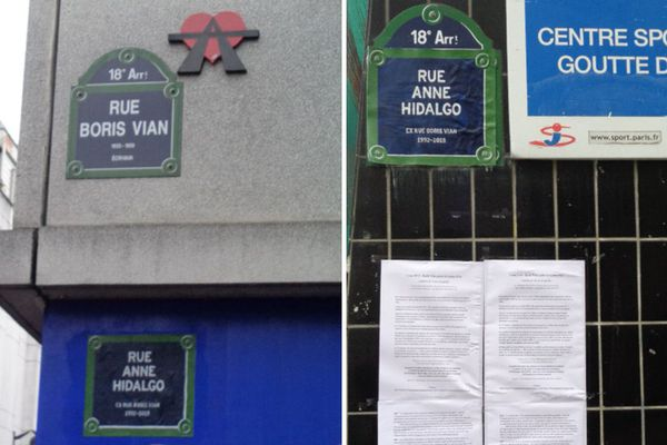 Des habitants ont rebaptisé la rue Boris Vian (Paris 18e), rue Anne Hidalgo pour montrer le mécontentement face à la dégradation du passage.