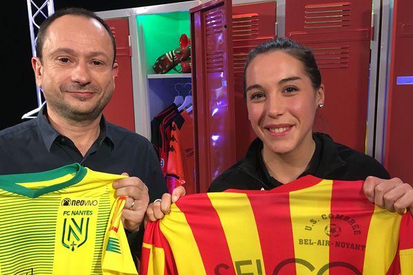 Charline Volard, joueuse du FC Nantes, au côté de David Jouillat pour l'émission #USBFOOT