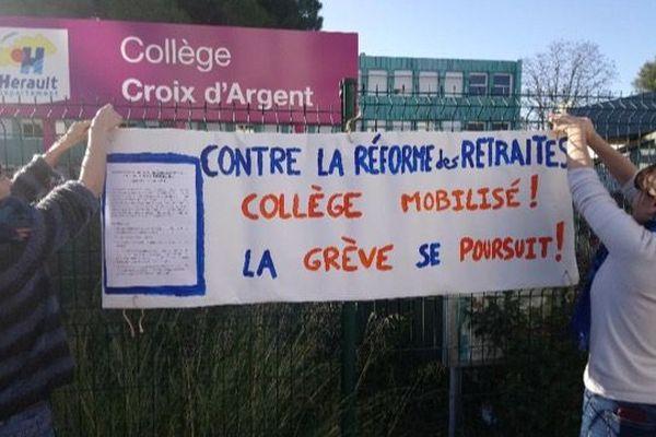 Au collège de la Croix d'Argent à Montpellier, la grève devrait être massive parmi le corps enseignant ce mardi.