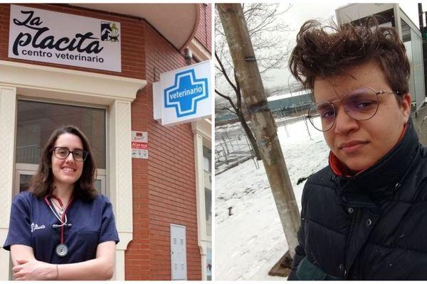 Claire-Marie Delgado est vétérinaire à Linares, dans le sud de l'Espagne (à gauche) - Aaron Giannino, un jeune étudiant rochelais installé à Montréal (à droite).