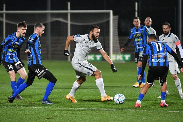 Le Havrais Himad Abdelli auteur du seul but de la rencontre face à Chambly à Beauvais mardi 5 janvier 2021