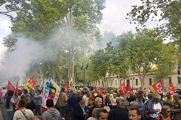Le cortège de la CGT, à Nîmes ce mardi 24 septembre,  pour une manifestation contre la réforme des retraites et pour la défense des services publics.