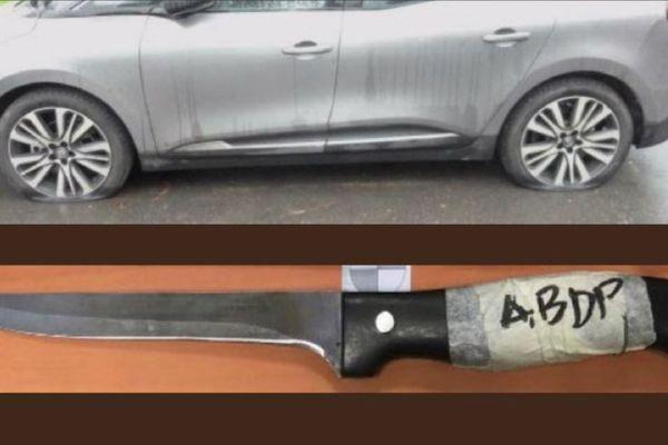 """Une des voiture victime du """"serial creveur de pneus"""" d'Acigné et le couteau avec lequel l'individu pratiquait ses méfaits"""