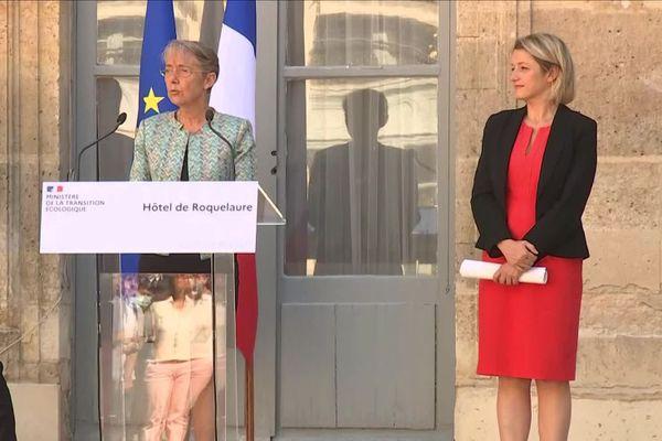 La passation de pouvoir du ministère de la Transition écologique d'Élisabeth Borne à Barbara Pompili, le 7 juillet 2020