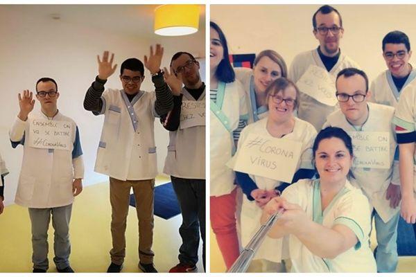 Noémie, Laurine, Christophe, Ludovic, Jessica, Adrien, Erwan, Joëlle, Lauredu foyer de vie d'Elorn ont participé à un défi en ligne et réalisé un clip sur les gestes barrières face au coronavirus