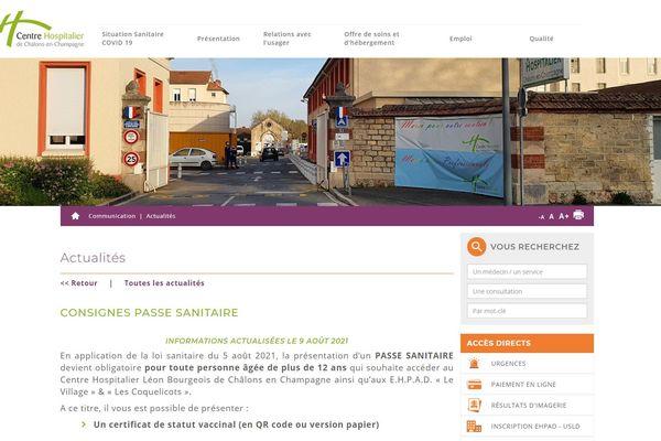 Capture d'écran du site de l'hôpital de Châlons-en-Champagne