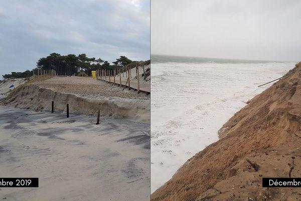 L'évolution de la côte entre septembre et décembre 2019.