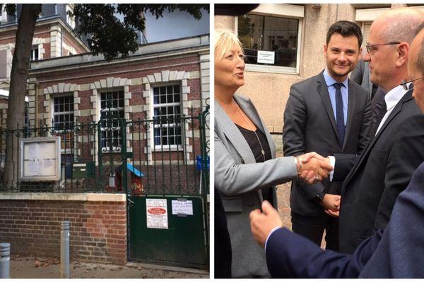 A gauche : une école rouennaise fermée. A droite : le ministre de l'éducation Jean Michel Blanquer en déplacement à Rouen, le vendredi 27 septembre 2019.