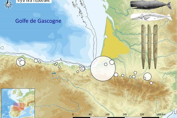 Distribution géographique des objets fabriqués en os de baleine autour du Golfe de Gascogne à la fin de la dernière glaciation.