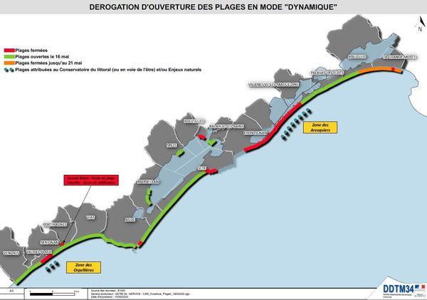 Carte des plages accessibles ou interdites au public dans l'Hérault à partir du 16 mai 2020.