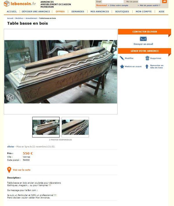 Annonce Le Bon Coin cercueil table basse