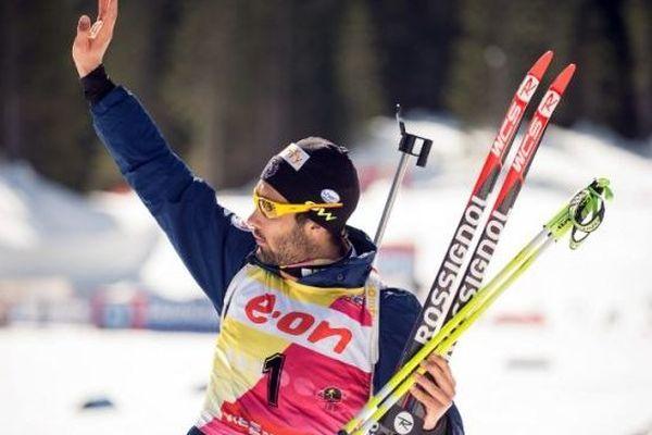 Martin Fourcade à Kontiolahti (Finlande), où il a terminé 2ème de la poursuite