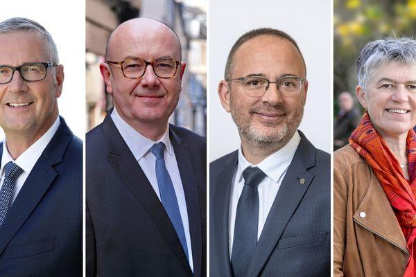 Émission spéciale municipales 2020 sur France 3 Centre-Val de Loire. 4 candidats aux élections municipales de Bourges viennent débattre en direct. De gauche à droite : Pascal Blanc, Philippe Mousny, Yann Galut et Irène Félix.