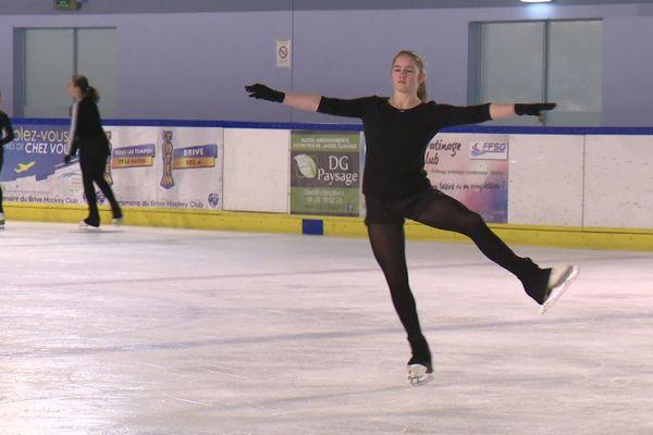 La patineuse Clara Langlade à l'entrainement
