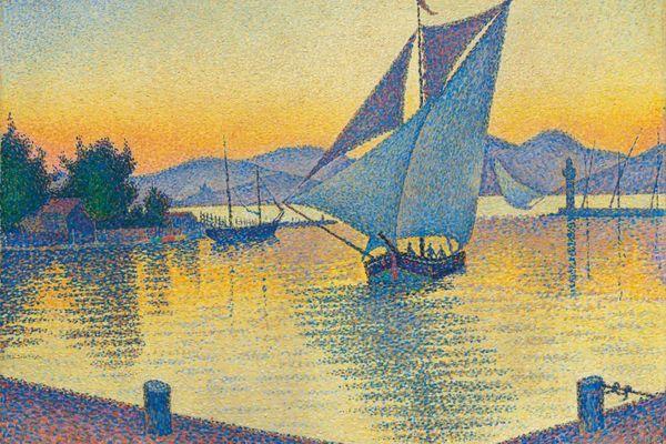 """""""Le port au soleil couchant"""", oeuvre de Paul Signac représentant Saint-tropez, sera vendue aux enchères le 27 février chez Christie's, à Londres."""