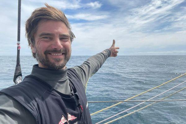"""Boris Herrmann à bord de son voilier """"Seaexplorer-Yacht Club de Monaco"""" sur le Vendée Globe 2020."""