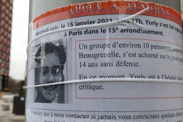 Le jeune garçon âgé de 15 ans s'est fait violemment tabasser le 15 janvier dernier dans le XVe arrondissement de Paris.