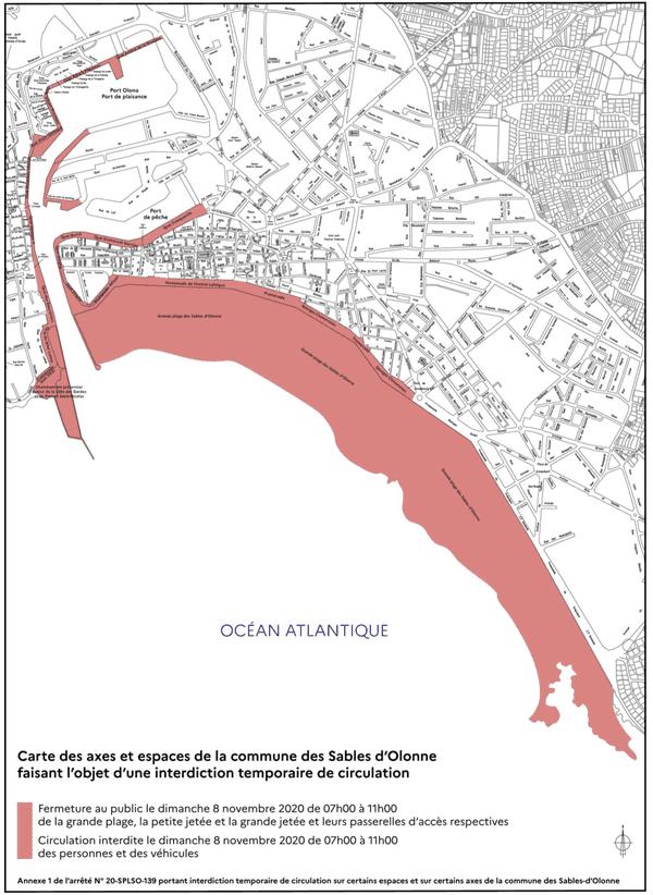 Carte des restrictions de circulation aux Sables d'Olonne le dimanche 8 novembre 2020