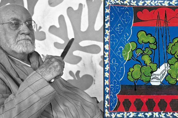 "Henri Matisse en 1952. A droite, ""Fenêtre à Tahiti"" (1936)"