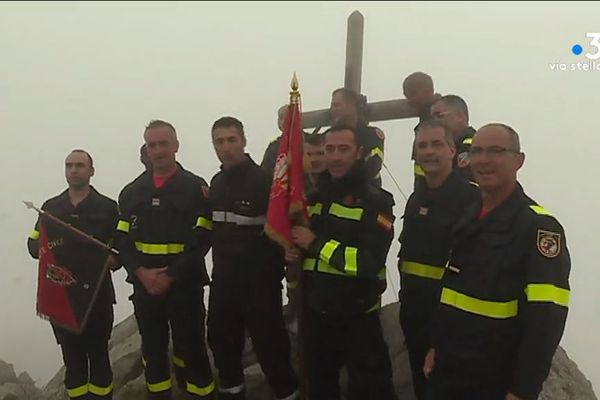 Les pompiers de l'UIISC 5 lors d'un entraînement, en 2018.