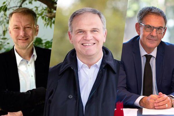 Elections 2020 - 2e tour : les trois candidats en lice pour les élections métropolitaines à Lyon. Bruno Bernard, François-Noël Buffet et David Kimelfeld