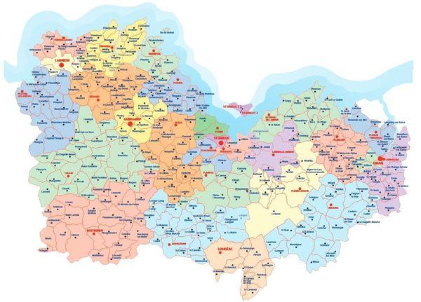 Les 348 communes des Côtes d'Armor sont réparties en 27 cantons