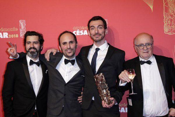 L'Audois Patrick Imbert au centre avec le César du meilleur film d'animation catégorie long métrage - Mars 2018