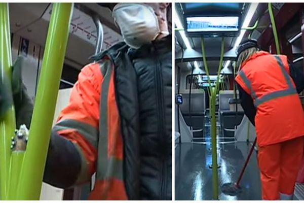 À Tours, Les trams sont nettoyés une fois par jour, à la fin du service (archives janvier 2019).