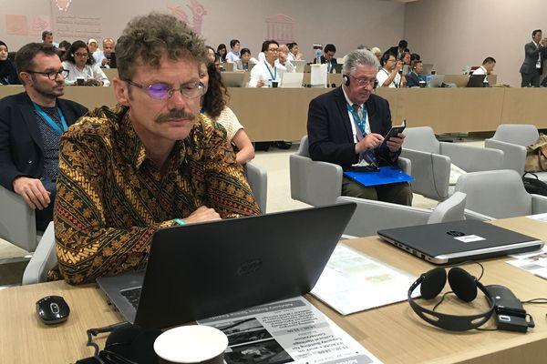 De gauche à droite : Éric Langlois, cartographe, Benjamin Van Wyk de Vries, volcanologue, et Jean-Yves Gouttebel, président du conseil départemental du Puy-de-Dôme, se sont déplacés à Manama (Bahreïn) pour défendre auprès du comité de l'Unesco la candidature de la chaîne des Puys.