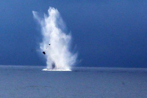La destruction de l'obus.Toreilles le 26 novembre 2014.