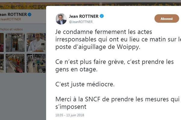 """La condamnation du président Jean Rottner via Twitter, mercredi 13 juin 2018, après les """"actes de malveillance"""" de cheminots grévistes."""