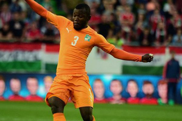 Serge N'Guessan sous le maillot de la Côte d'Ivoire lors du match amical face à la Hongrie, le 20 mai 2016 à la Groupama Arena de Budapest.