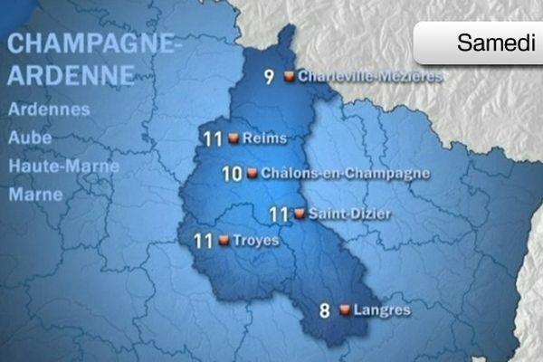 Carte météo - Champagne-Ardenne (15/12/2012)