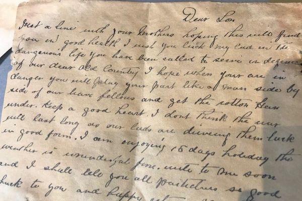 Une des lettres échangées par William Swift et sa famille.