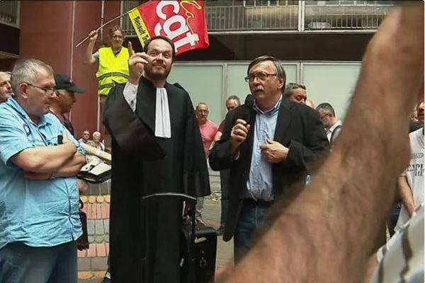 2017 : première audience de conciliation et première manifestation de soutien devant le tribunal à Lyon