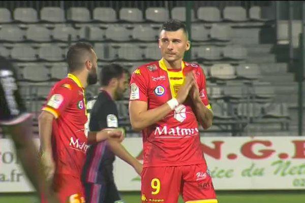 Mathieu Duhamel, attaquant de Quevilly Rouen Métropole