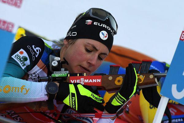 La Française Justine Braisaz à l'entraînement au Grand Bornand le 18 décembre 2019, pour la manche française de la coupe du monde de biathlon.