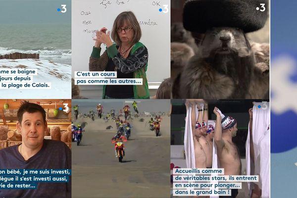 Des images extraites des 6 vidéos les plus vues sur la page Facebook de France 3 Nord Pas-de-Calais en 2019