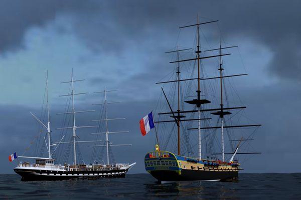 La Frégate Hermione et le voilier Belem côte à côte, un avant goût de l'édition 2019 de Débord de Loire entre Saint-Nazaire et Nantes
