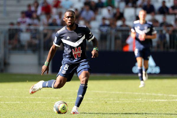 La nouvelle recrue girondine Junior Onana, auteur du second but contre Lens, à la 88e minute, au stade Matmut Atlantique ce dimanche 12 septembre.