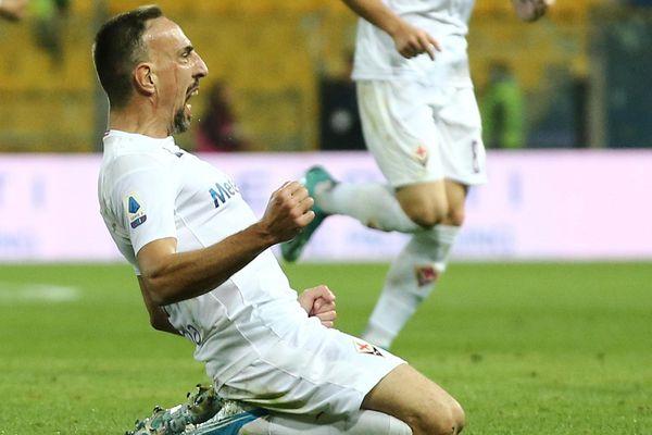 Franck Ribéry, buteur le 22 septembre 2019 lors du matche entre l'Atalanta et la Fiorentina (Série A).